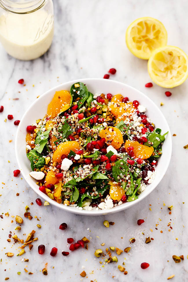 spinach salad with oranges pomegranate feta