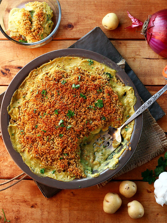 vegan potato broccoli casserole