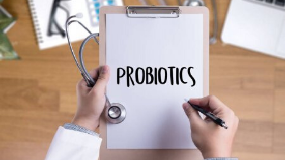 the word probiotics spelled out on clip board