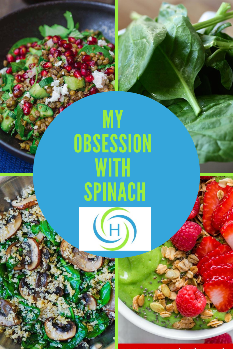 4 pictures of meals using spinach