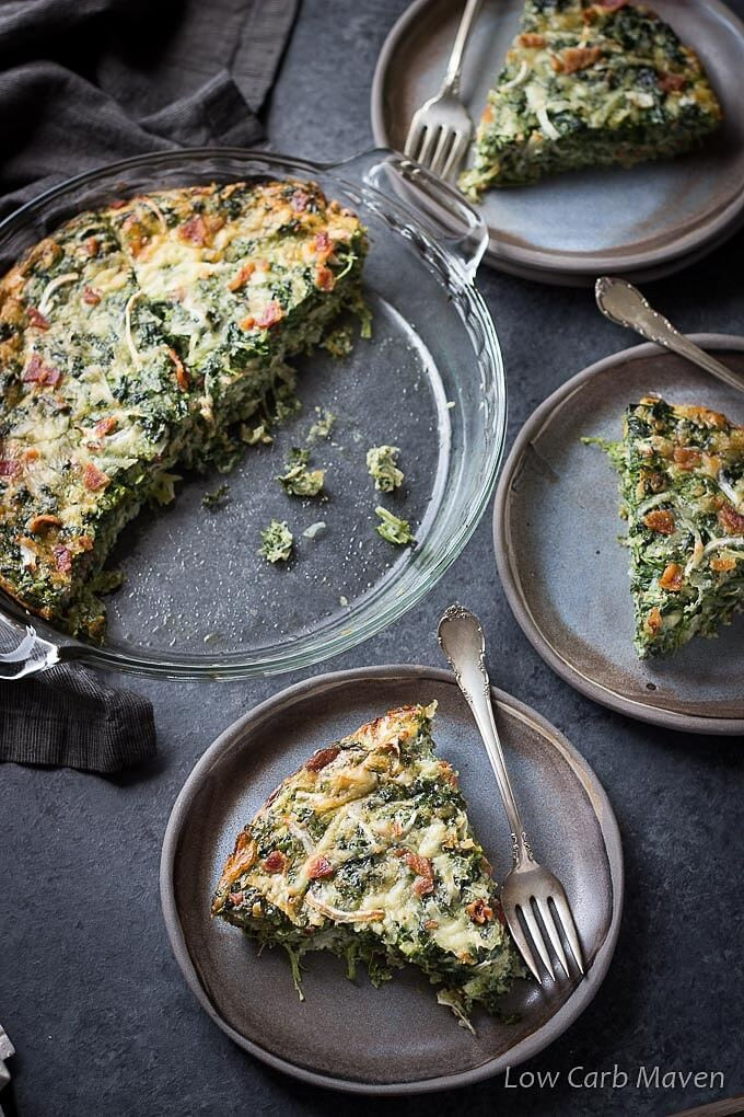crustless spinach bacon quiche on a plate