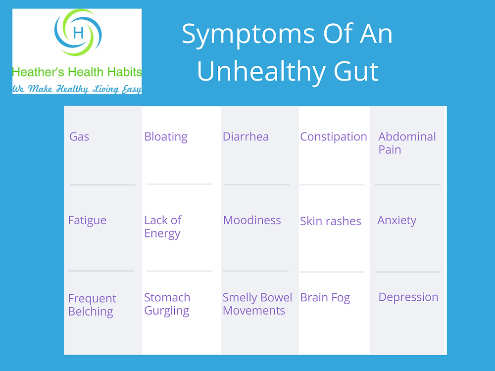 a table identifying the symptoms of an unhealthy gut such as gas, bloating, brain fog and fatigue