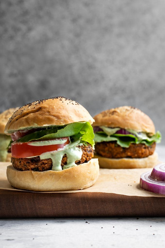 chickpea burgers on buns for dinner