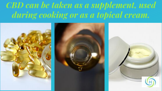 CBD can be taken as a supplement, used during cooking or as a topical cream