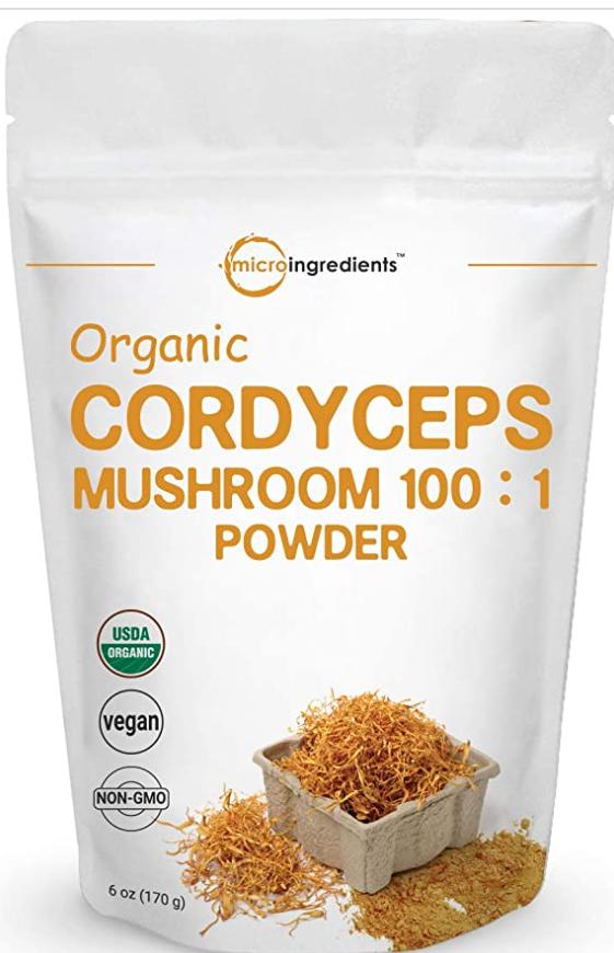 cordyceps mushroom powder in a bag