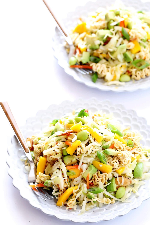 crunchy ramen noodle salad on a plate