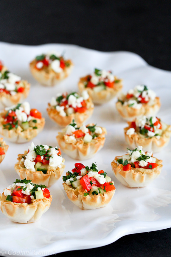 hummus stuffed phyllo cups with red peppers