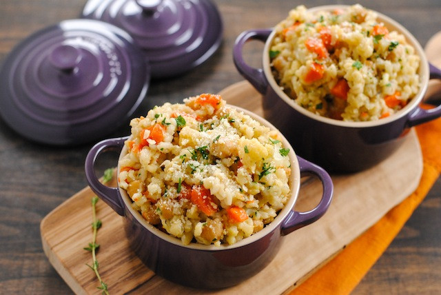 slow cooker barley chickpea risotto in single serve pots