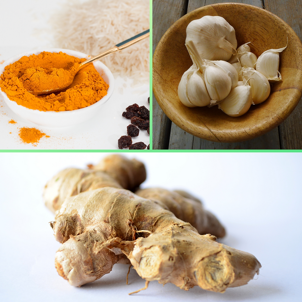 pictures of turmeric, garlic and ginger