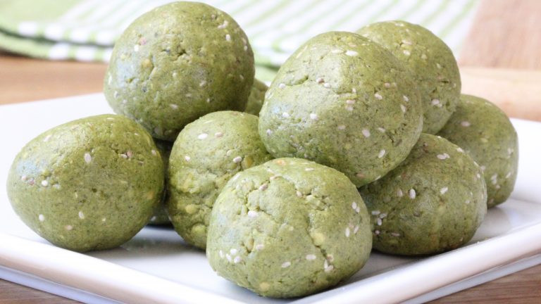 matcha protein bites on a plate