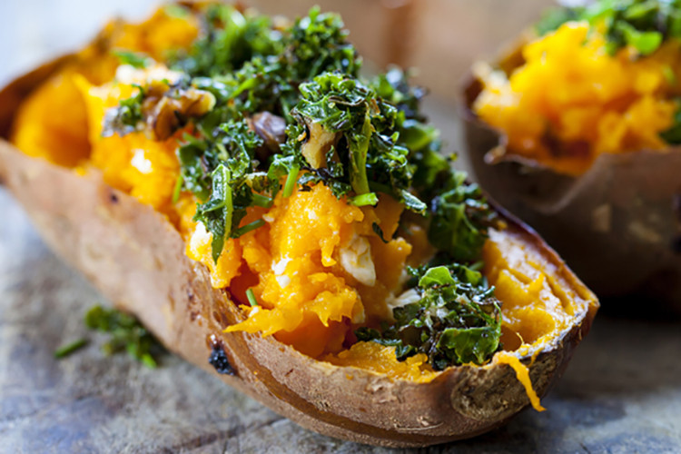 baked sweet potatoes with crispy kale