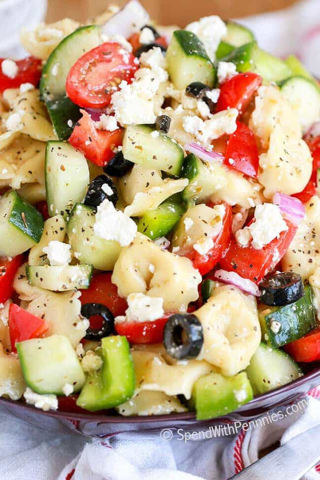 greek tortellini salad with cucumbers olives tomatoes and feta cheese
