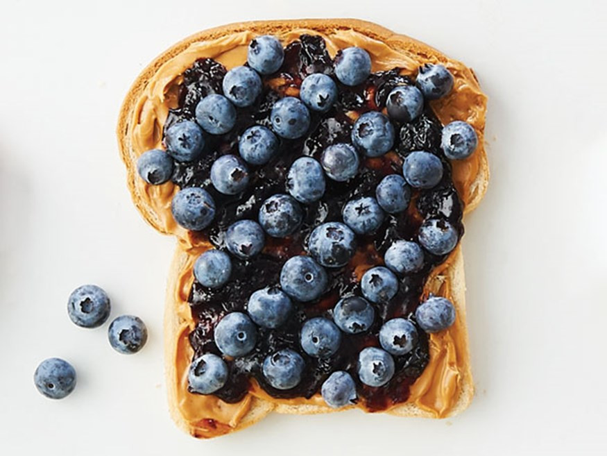 toast with nut butter and blueberries