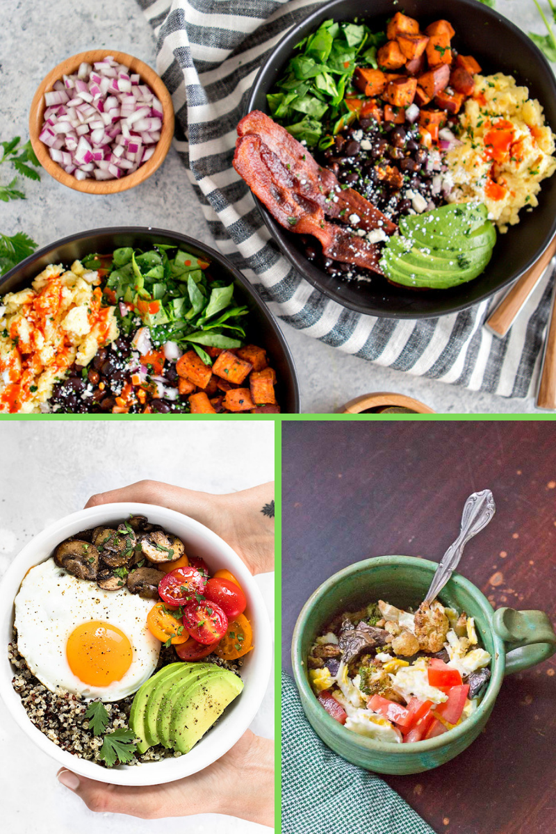 breakfast bowls with avocado egg sweet potatoes and beans