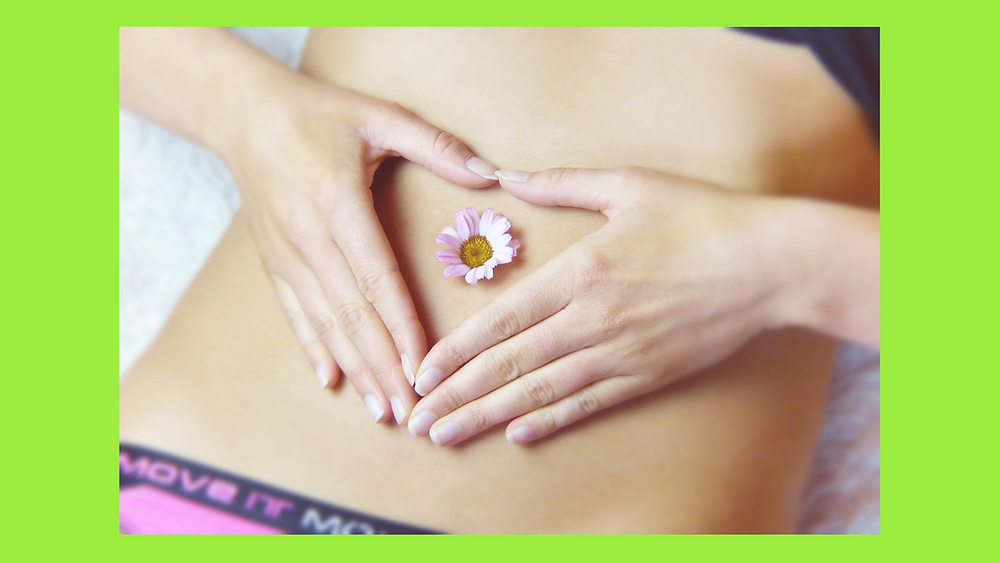 belly with a flower