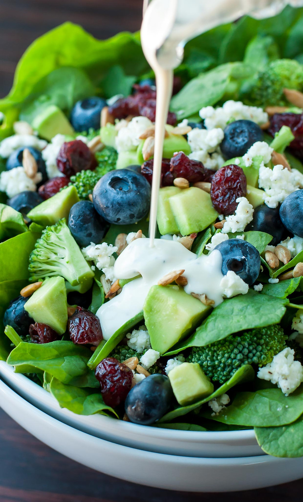 broccoli blueberry avocado cranberries on spinach leaves