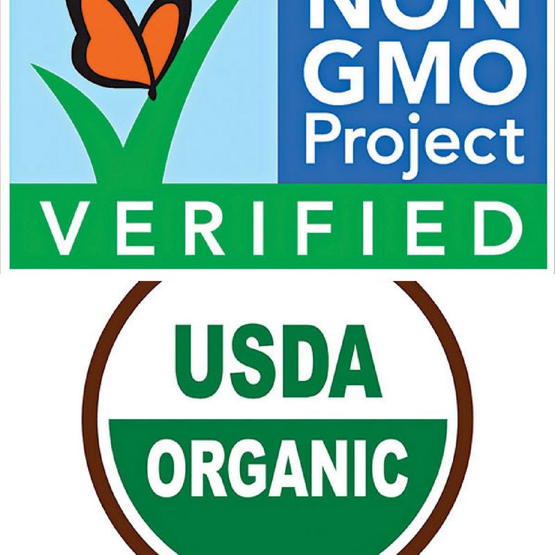 non GMO verified logo and USDA organic logo