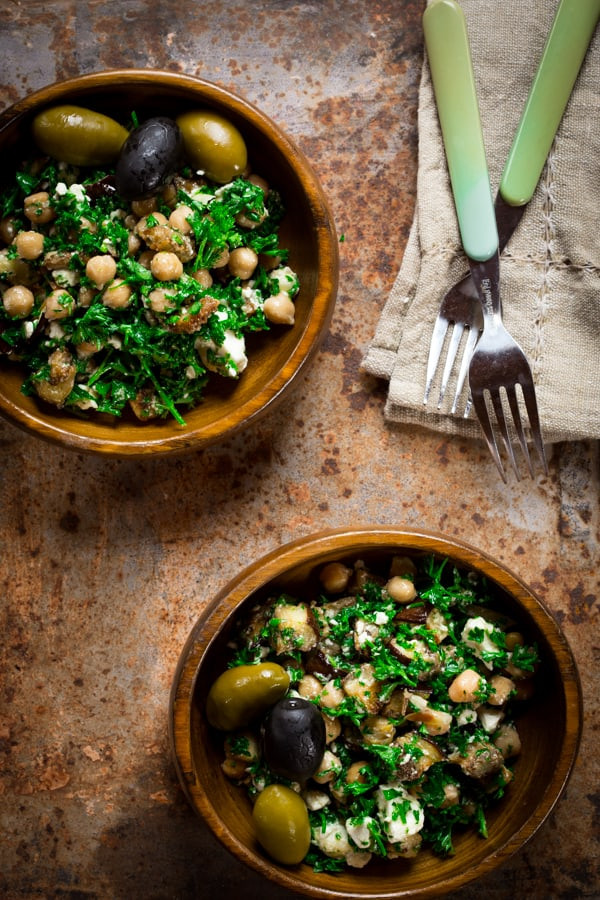 eggplant chickpea salad in wooden bowls