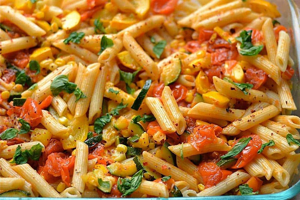 garden vegetable pasta dinner