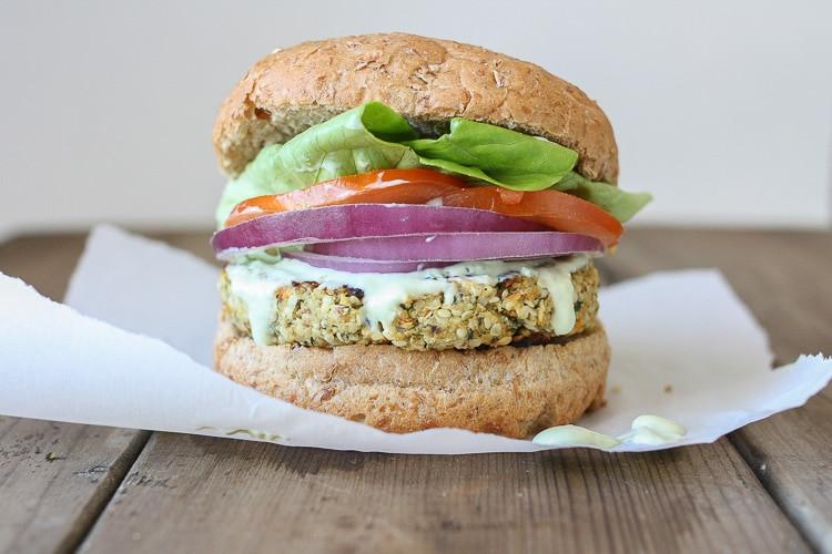 hemp cauliflower veggie burger on a bun