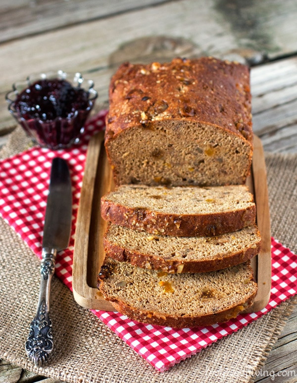 fig bread is made with yogurt and molasses making it great for breakfast or a snack