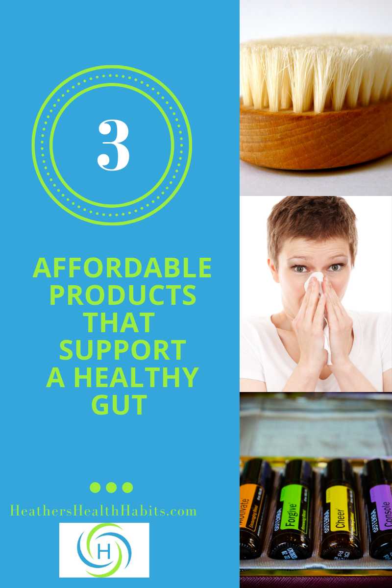 3 products that support a healthy gut, dry brush, neti pot and essential oils