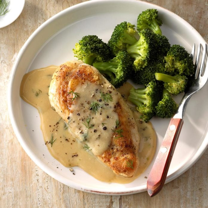 chicken and broccoli with dill sauce on a plate for better gut health