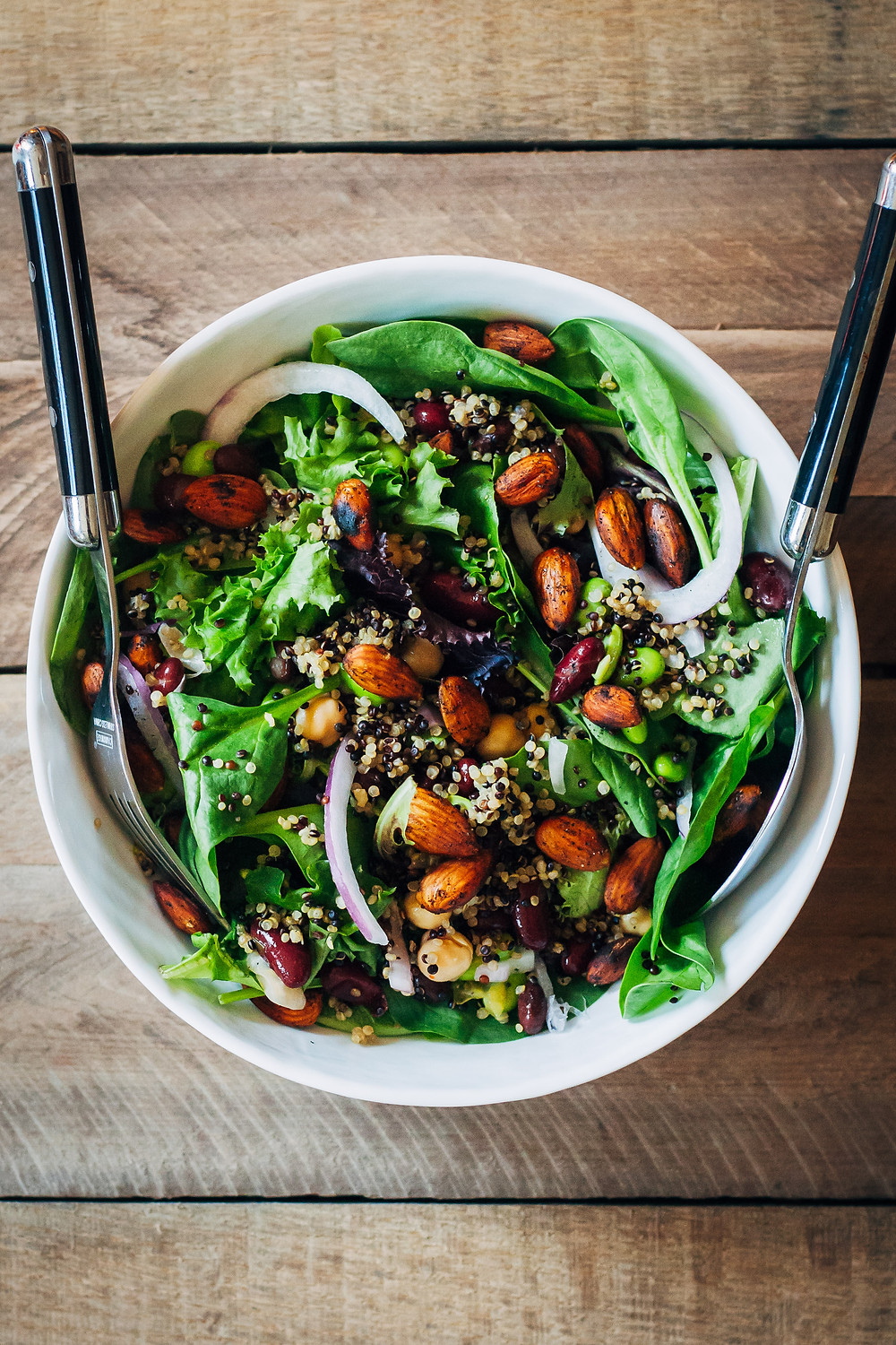 power protein salad to keep you full until dinner time with quinoa and edamame