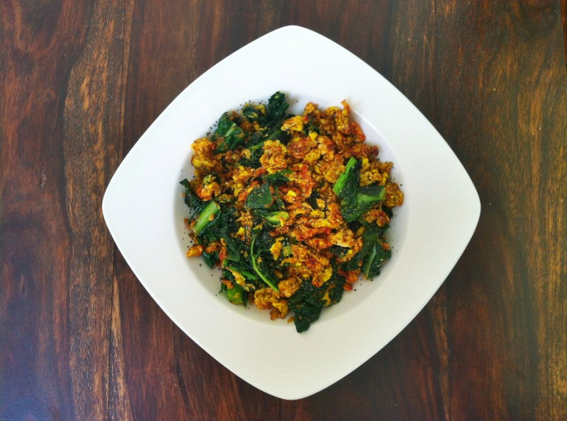 spiced kale scramble is a healthy vegetarian alternative for breakfast
