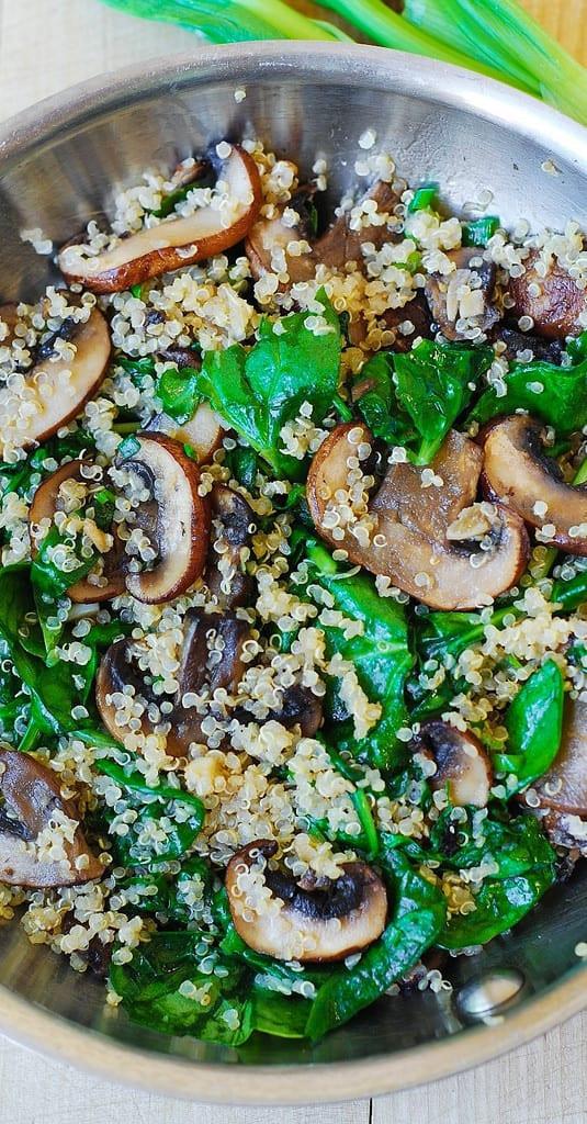 spinach mushroom quinoa in a bowl