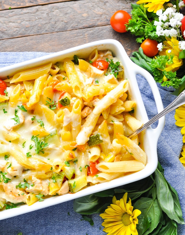 dump and bake summer pasta recipe in a pan