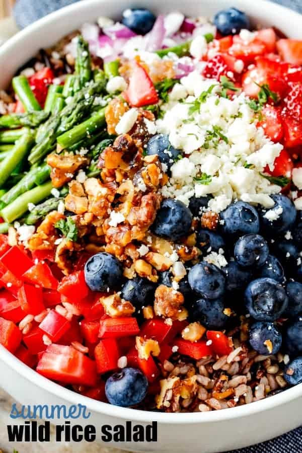 summer wild rice salad with blueberries