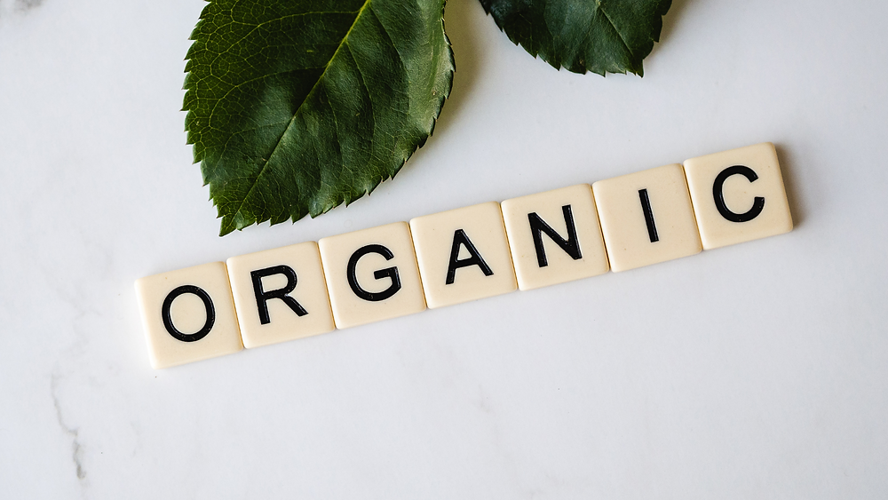 the word organic spelled out in scrabble letters