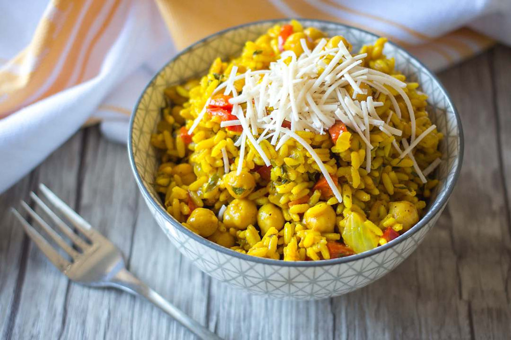 chickpea and rice recipe with turmeric