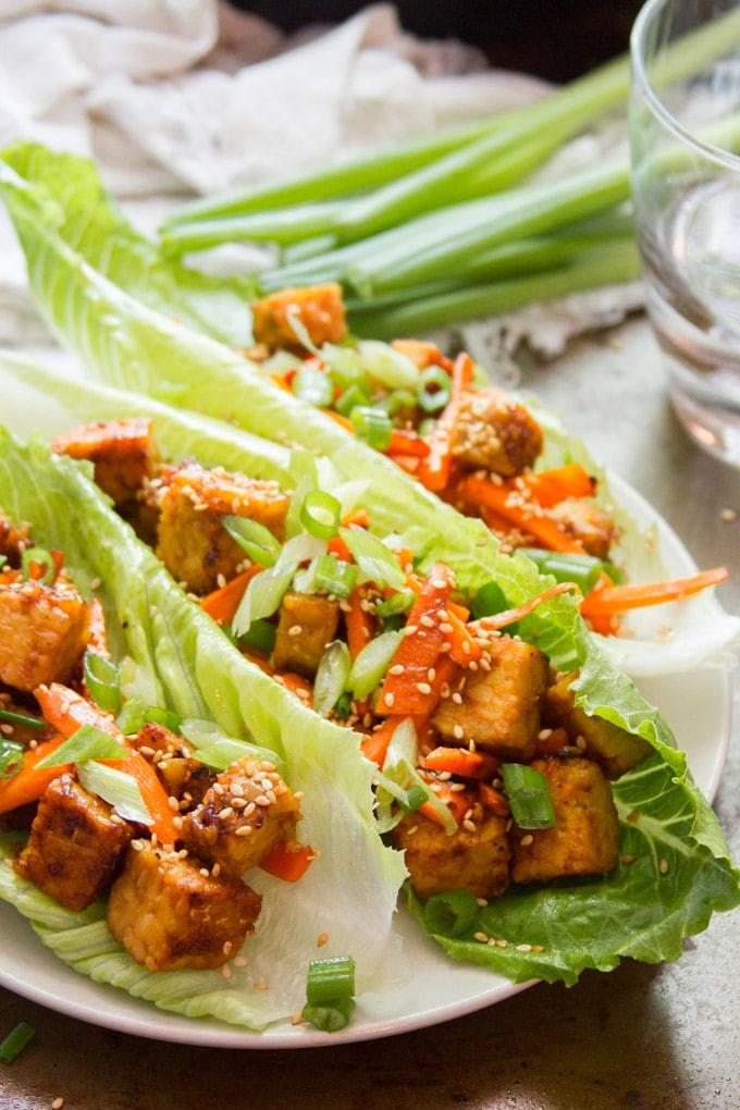ginger sesame lettuce wraps are a quick dinner