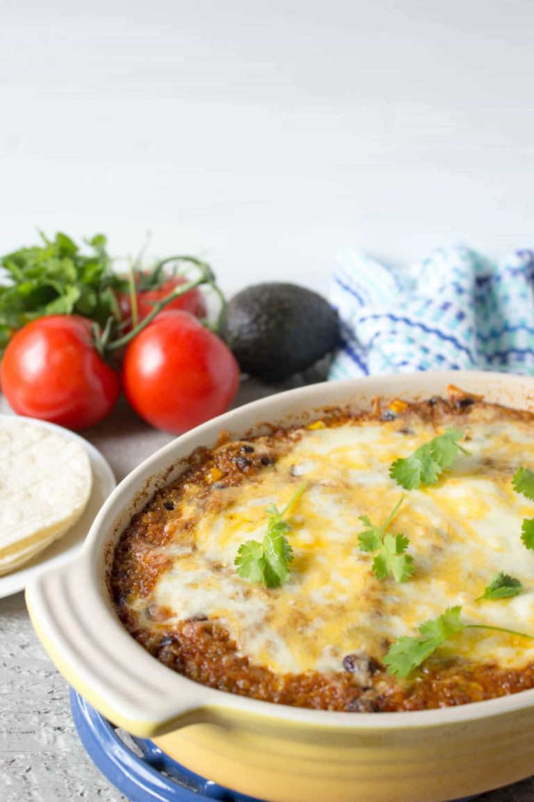 quinoa enchilada bake is a vegetarian casserole perfect for meatless monday