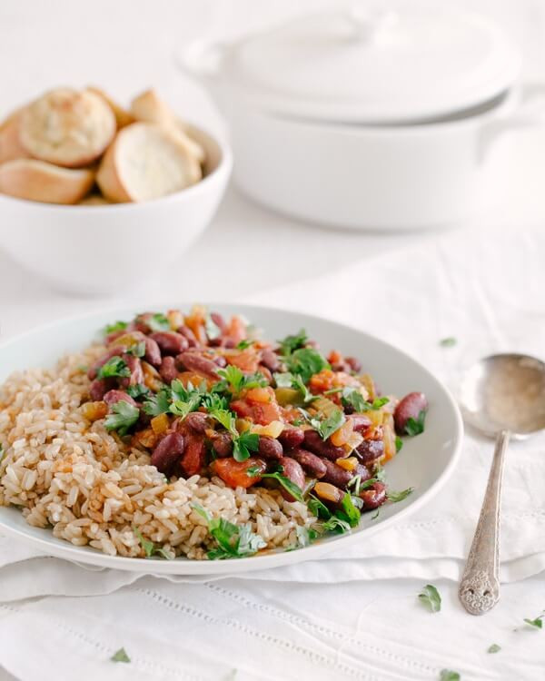 red beans and rice on a plate