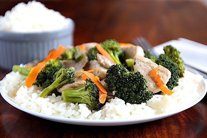organic chicken broccoli mushrooms carrots over rice
