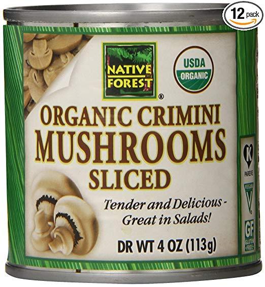 Organic canned mushrooms