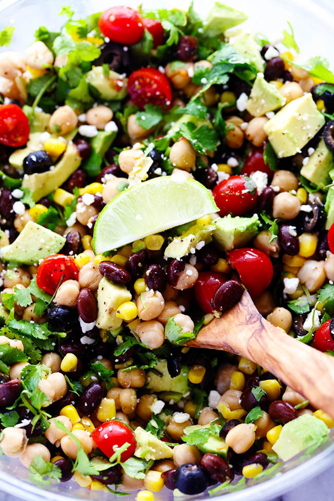 chickpea salad with limes black beans tomatoes corn and cilantro