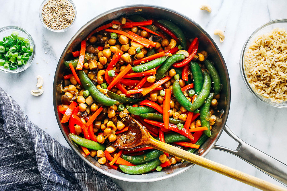 teriyaki chickpea stir fry in a skillet for dinner