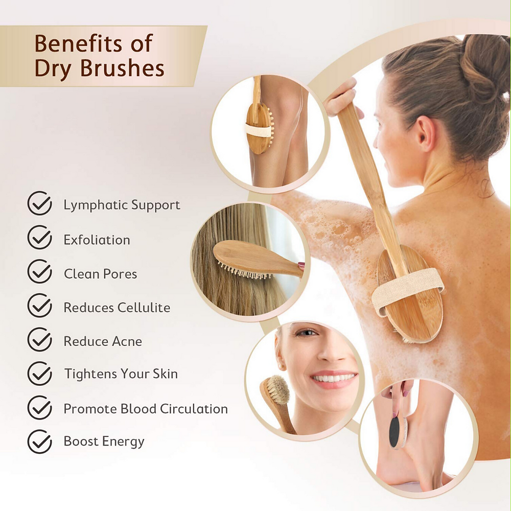 woman dry brushing and a list of benefits of dry brushing