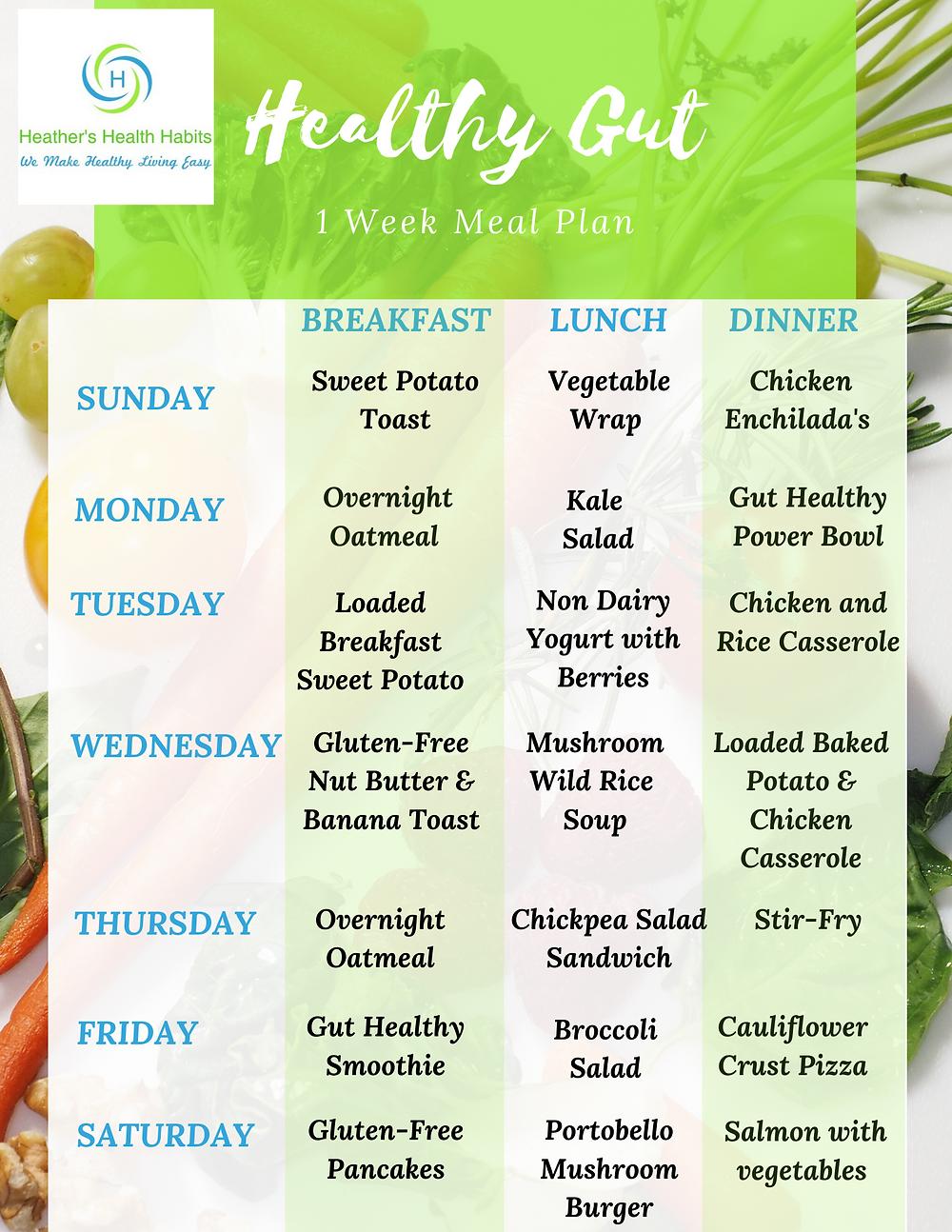 1 week gut healthy meal plan