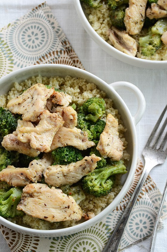 chicken and broccoli in a bowl with couscous