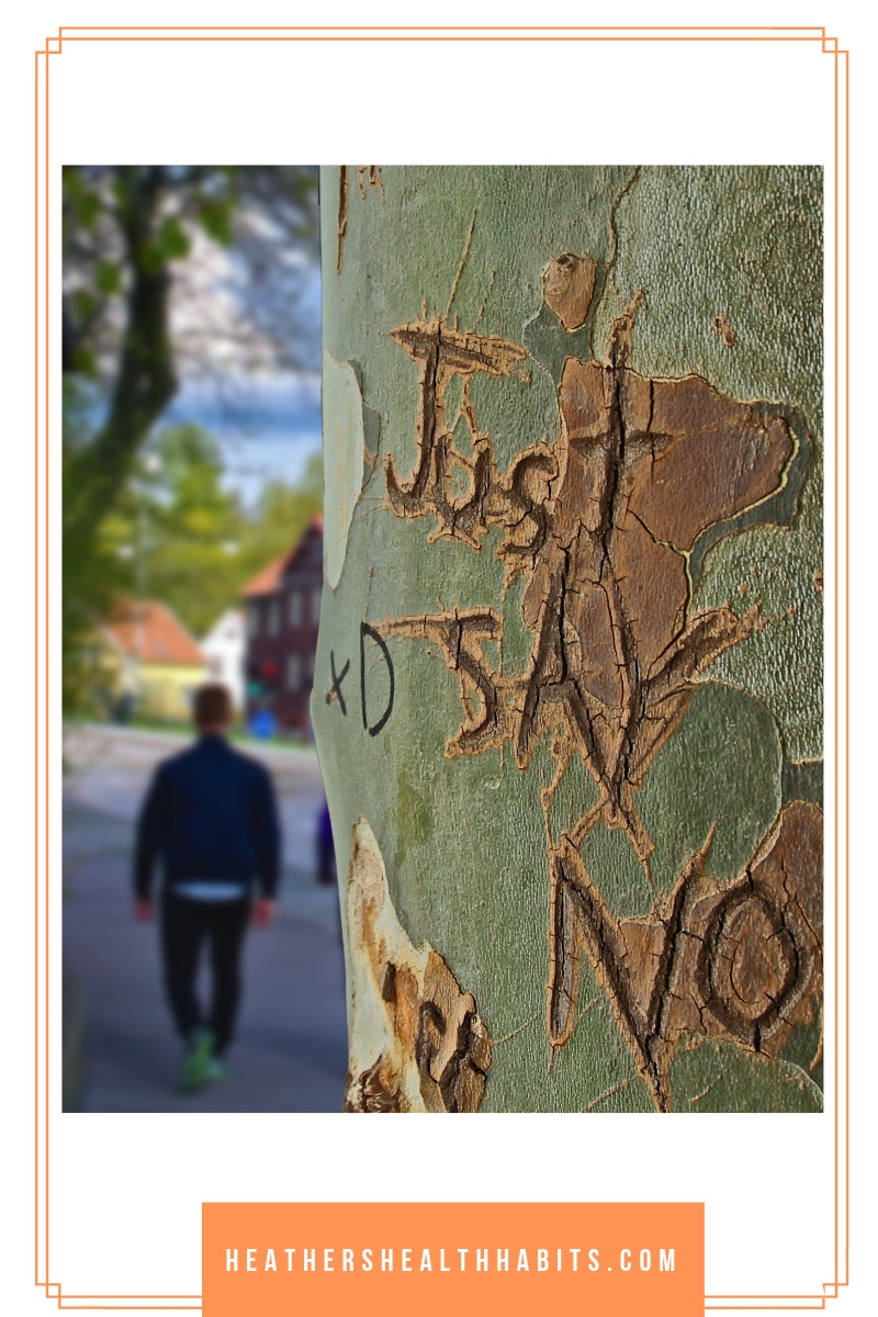 just say no carved in a tree