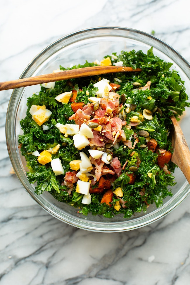 sweet potato kale breakfast salad for healthy digestion