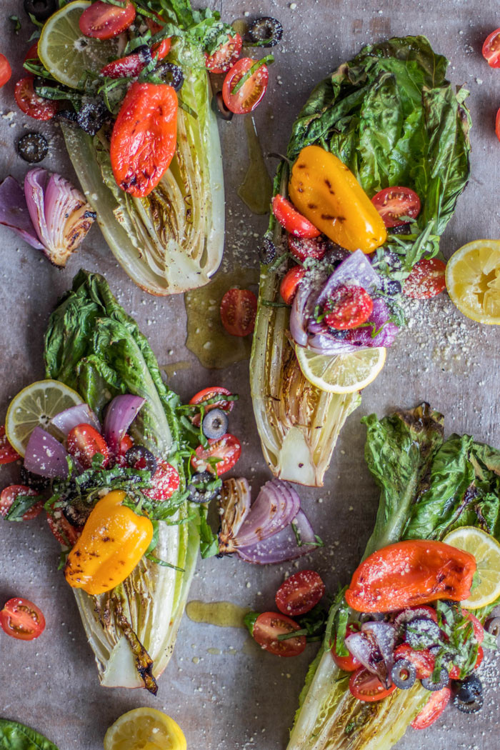 grilled romaine lettuce with bell peppers, tomatoes and onions recipe