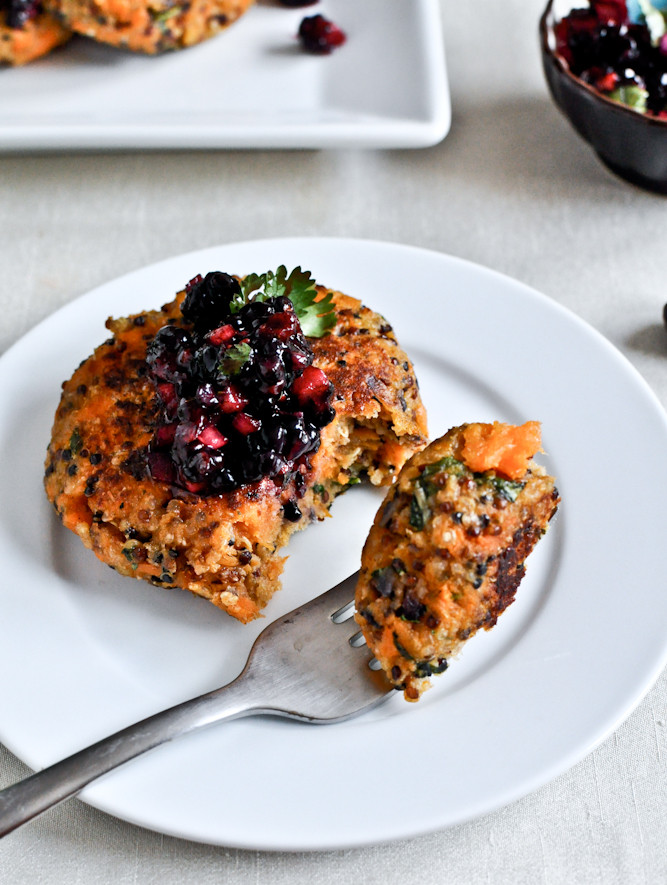 sweet potato quinoa cakes are full of healthy protein to satisfy a hungry gut
