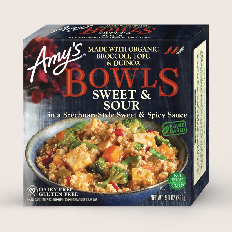 amy's sweet and sour bowl is a healthy frozen meal for lunch or dinner