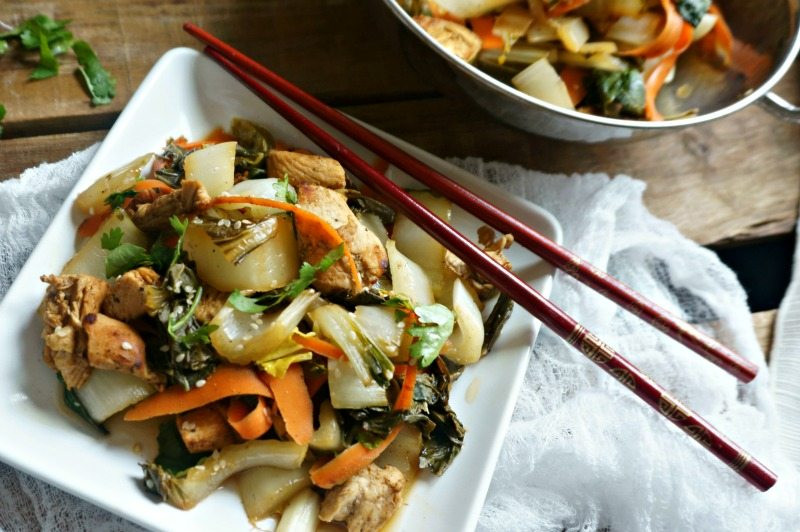 chicken stir fry with bok choy and vegetables